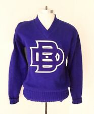 Vtg 70s Purple Wool V-Neck Tennis Letterman Varsity Sweater Carpet Patch Pin S/M