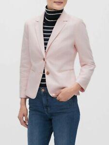 NWT Banana Republic Factory Peach Glow Pink 6 P Petite Shrunken Linen Blazer