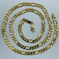 "Vintage Solid 9ct Yellow Gold 5mm Figaro Chain 24"" Necklace #727"