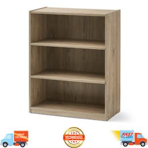 3-Shelf Wood Bookcase, Wide Storage Book Display Adjustable Bookshelf Rustic Oak