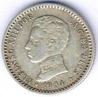Spanien Alfonso XIII. (1886-1931) 50 Centimos 1904 SM-V KM#723, ss/vz