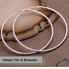 925 Sterling Silver Plated Dazzling Intricate Frosted Big Circle Hoop Earring