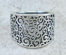 Ring size 10 style# r2604 Wide 925 Sterling Silver Filigree Swirl