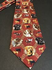 Eagle Neckwear Hunting Dogs Burgundy Silk Tie