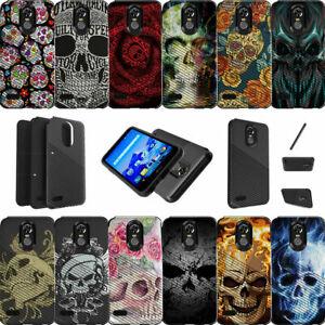For LG Stylo 3 | LG Stylus 3 | LG Stylo 3 Plus | LS777 Dual Layer Case Skulls