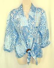 Samuel Dong Shirt M Tie Front with Wood Ring Burnout Blues Turn Up Cuff Perfect