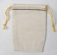 100 Mini Black Hem and Yellow Double Drawstring Muslin Bags