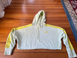 Adidas Originals Women's Cropped Hooded Sweatshirt, Yellow, Size Small