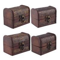 4x Wooden Vintage Treasure Chest Wood Jewellery Storage Box Case Organiser RingY
