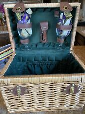 Picnic Basket Set For Two. Includes Wine Glasses