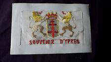 WW1 silk embroidered postcard  Souvenir D'Ypres two golden lions, Flap & insert