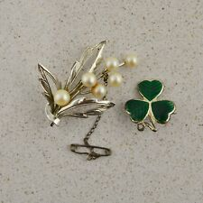 2x Vintage Hallmarked sterling silver floral brooches with enamel and pearls