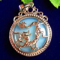 Carved Tibetan Silver Dragon Wrapped Opal Opalite Round Pendant Bead 35x27x9mm