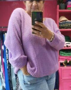 Lovely Lilac Soft Mohair blend knit Boxy Batwing V-Neck Jumper 10/12-18/20