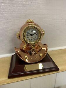 Vintage Antique Copper & Brass Diving Helmet With Quartz Clock NIB