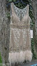 Sz 10 🌸 SUE WONG Nocturne 1920's Feather Flapper Dress GATSBY Wedding Champagne