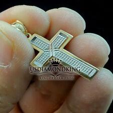 10K 100% Two Tone Solid Gold Jesus Cross Pendant Charm 1.12 Inch 1.4g Men Women