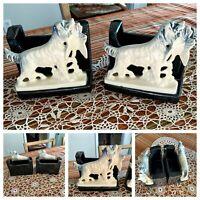2 McCoy USA Vintage Ceramic Pottery Bird Dog Hunting Setter Planter