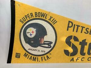 Vintage Pittsburgh Steelers Super Bowl XIII Full Size Felt Pennant Football NFL