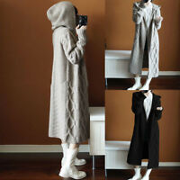 Plus Size Womens Long Sleeve Knitted Cardigan Sweater Outwear Hooded Coat Jacket