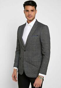BURTON Grey Checked Skinny Fit Suit Jacket  Size 36R     (FS107-2)