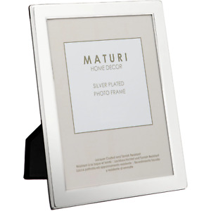 SILVER PLATED FLAT EDGE PICTURE PHOTO FRAME BY MATURI 8 x 10 -inch