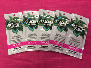 SNOOKI BEACHES BE CRAZY Outrageous White Bronzer Tanning Lotion 5 PACKET LOT