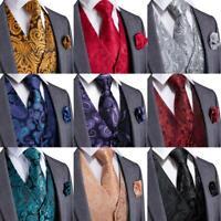 PAISLEY Blue Mens Waistcoat Tie Set Silk Woven Jacquard Vest Wedding Gift