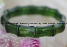 "Petty Dark Green Emerald  Gemstone Beads Stretchy Bracelet Bangle 7.5"" AAA"