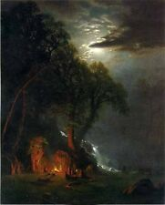Huge Oil painting Campfire Site Yosemite moon night Albert Bierstadt canvas 36""