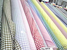 POLYCOTTON GINGHAM check FABRIC,10 COLOURs and 2 SIZES  Width 115cm approx