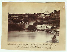 xRARE c1860s-1870 Photo - New Zealand Lake Rotorua Maori Village- Hotel Albumen