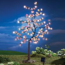 Large Solar Powered Lighted Pink Asian Cherry Blossom Tree Garden Sculpture