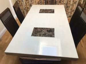 Dfs Strasbourg:Cream and Dark Marble dining Table with 6 Chairs &6 Chairs Covers