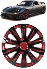 Radkappen Radzierblenden für Stahlfelgen Set Tenzo-R XII 15 Zoll schwarz rot