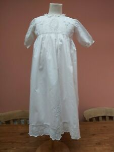 ANTIQUE 1920s BABY DRESS CHRISTENING GOWN COTTON LACE EMBROIDERY VINTAGE