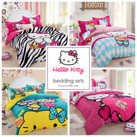 Kids Hello Kitty Bedding Duvet Quilt Cover Bedding Set Twin Queen Cotton Pink