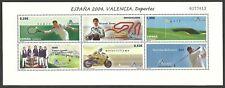 SPAIN 2004 ESPANA SPORT GOLF MOTORCYCLING TENNIS M/SHEET MNH