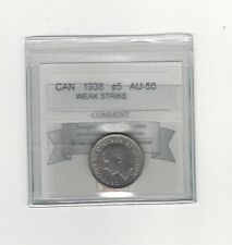 1938 ,Coin Mart Graded Canadian,  5 Cent, AU-50 Weak Strike