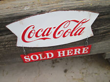 COCA COLA SOLD HERE HANGING 2 PA  METAL COOL oldschoollook Soda Pop Advertising