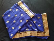 indian saree - Georgette Material, Navy with gold print, No Blouse