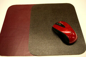 2 Leather Mouse Pads. Brown and Red Made in USA