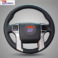 Black Leather Steering Cover for Toyota Land Cruiser Prado Tundra Tacoma 4Runner