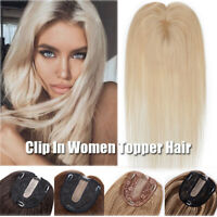 AAA+ White Topper Hairpiece 100% Remy Human Hair Clip In Toupee Wig Mono Base US