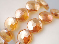 10pcs Amber Golden Glass Crystal Faceted Flying Saucer Loose Beads 14mm Findings