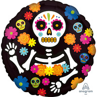 HALLOWEEN DAY OF THE DEAD FOIL PARTY BALLOON DECORATION MEXICAN FIESTA 43CM
