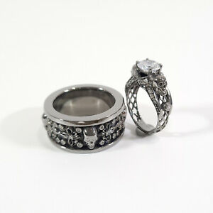 Diamond Mesh Skull Engagement Ring Fleur De Lis Skull Wedding Band Gun Metal Fn