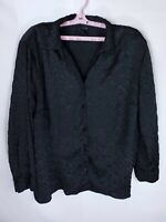 Maggie Barnes Womens Plus Size 2X 22/24 Black Button Down Top Long Sleeve Blouse