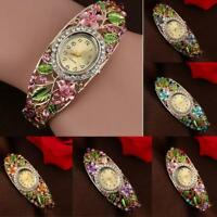 HOT Fashion Bangle Crystal Flower Bracelet Quartz Watch Women Ladies Wristwatch