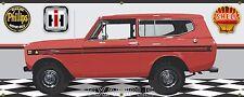 1974 INTERNATIONAL IH SCOUT II FLAME RED GARAGE SCENE BANNER SIGN ART 2X5
